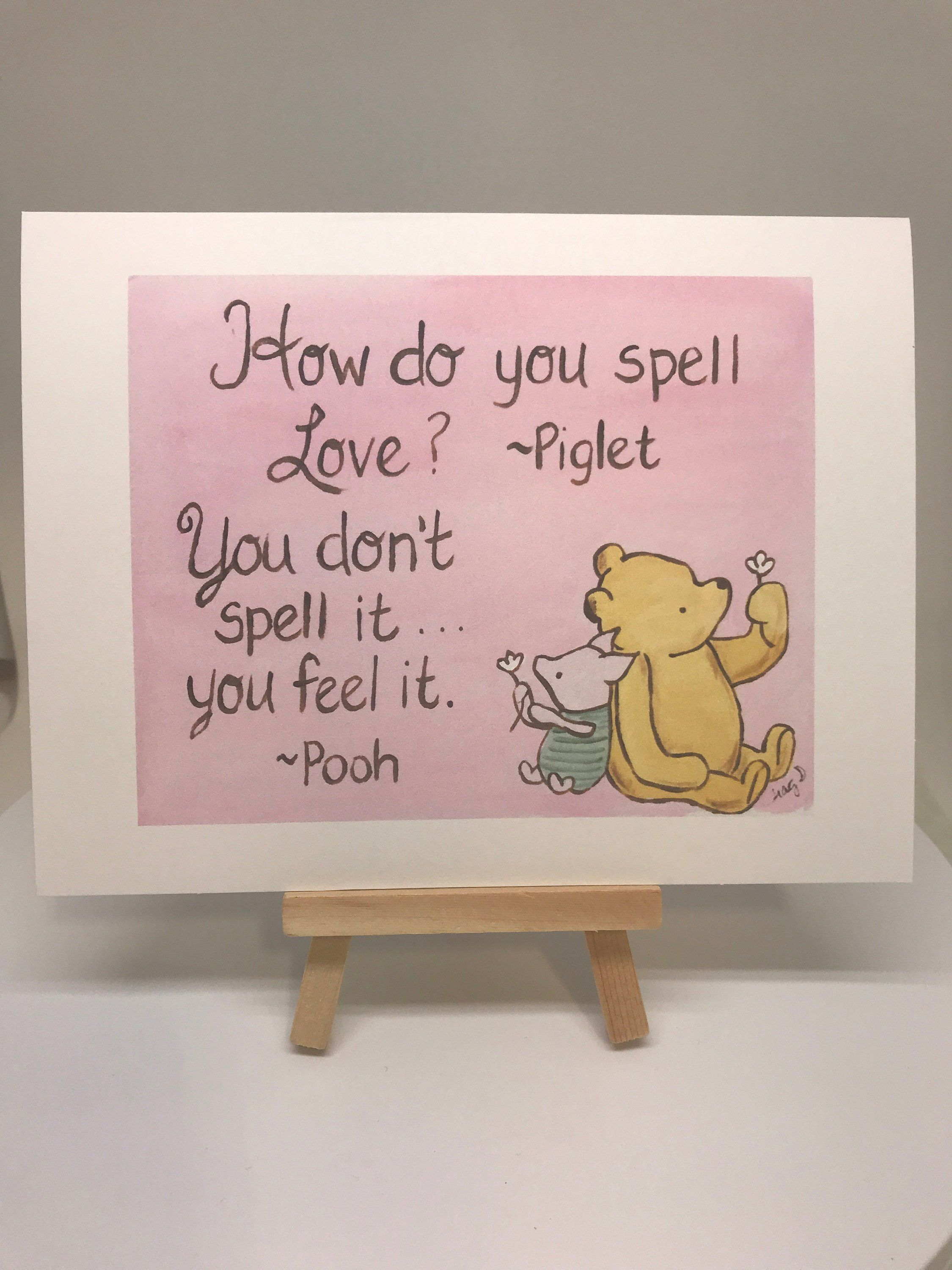 Valentine's day Classic Winnie the Pooh I love you card, XOXO love quote how to spell love