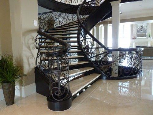 Best Staircase W Gorgeous Black Swirl Railing Beautiful 400 x 300