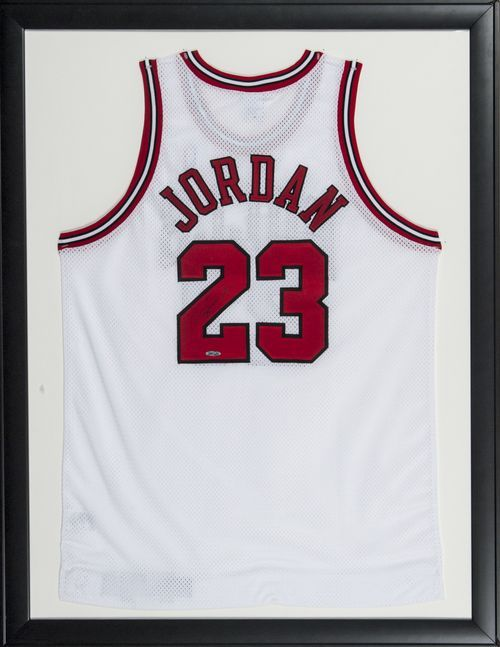 Michael Jordan Signed Framed 34x44 Chicago Bulls White Jersey UDA ...