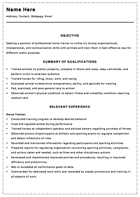 Name Here Address Contact Webpage Email Objective Seeking A Position Of Professional Hors Resume Template Examples Resume Template Sample Resume Templates