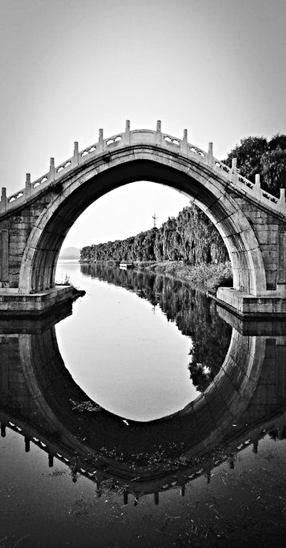 Bridge reflection in black and white