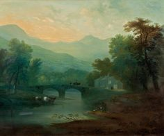 """Blue and Gray are Hot But I Prefer Green Decor; Now What? - laurel home """"Late Summer English Landscape"""" by Thomas Gainsborough"""