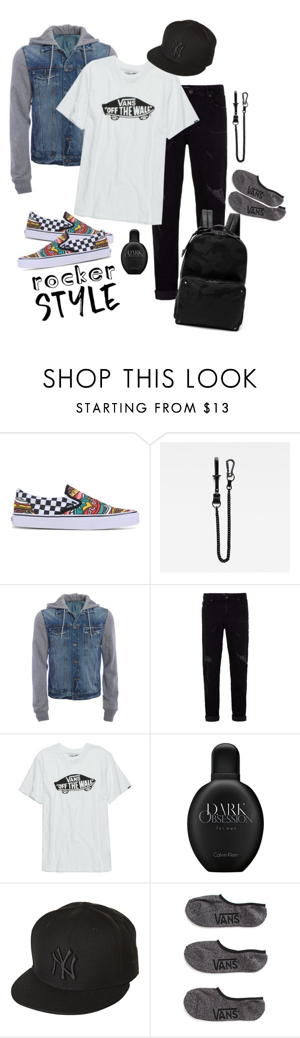 """Vans Warped Tour"" by sarahelizabethg ❤ liked on Polyvore featuring Vans, G-Star Raw, Aéropostale, Topman, Calvin Klein, New Era, Valentino, men's fashion, menswear and rockerchic"