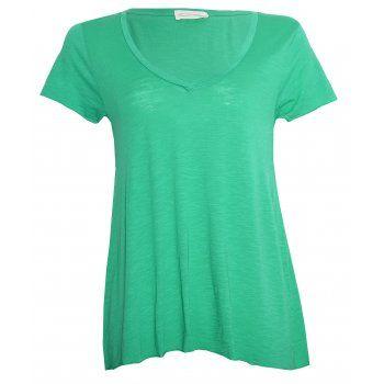 American Vintage Jacksonville V Neck Short Sleeve T-shirt in Mojito Green