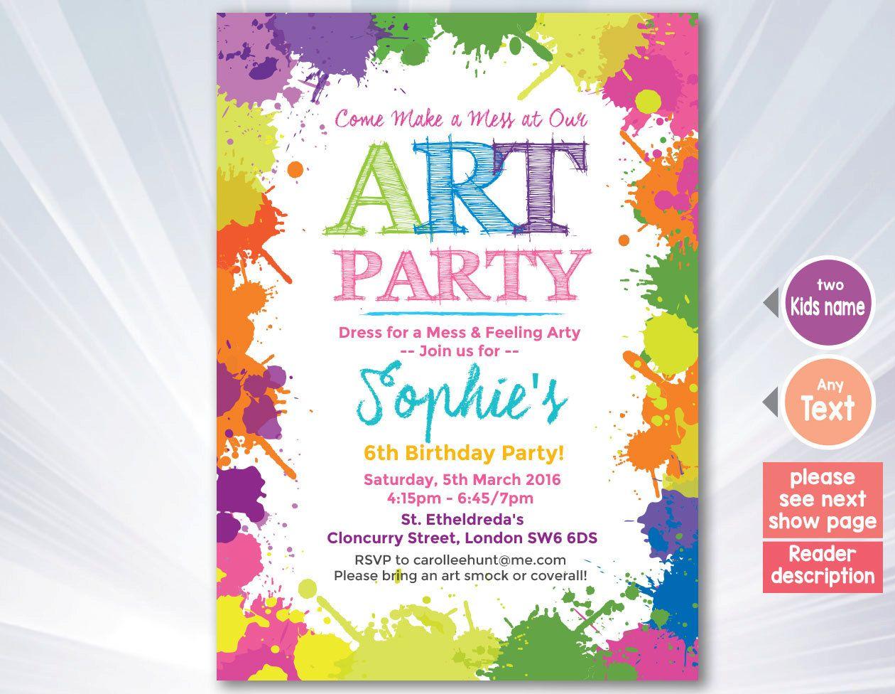 Paint Splatter Invitation Paint Splatter Birthday Party