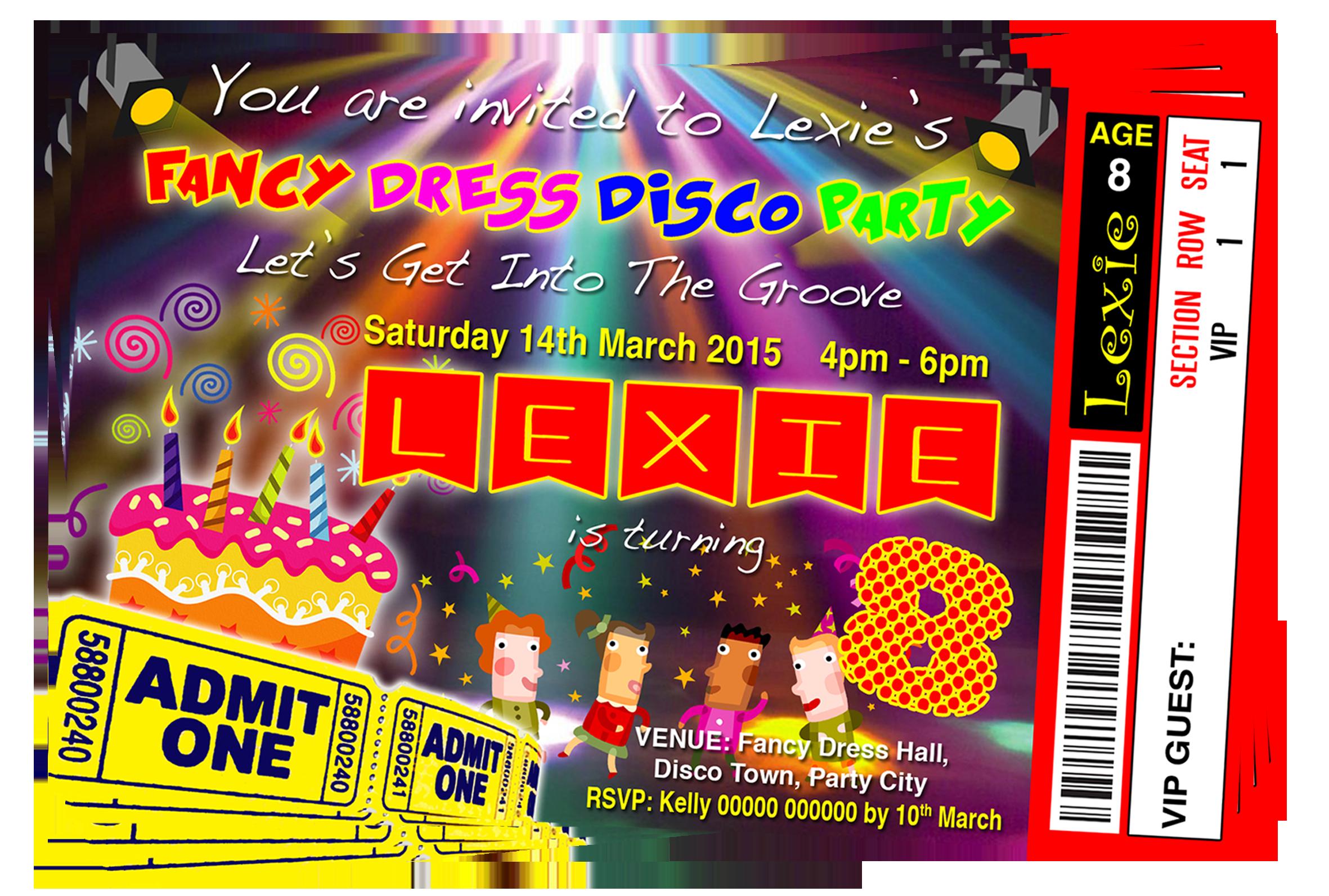 Fancy Dress Disco Party Invitation Ticket Style | Pop Star, Neon ...