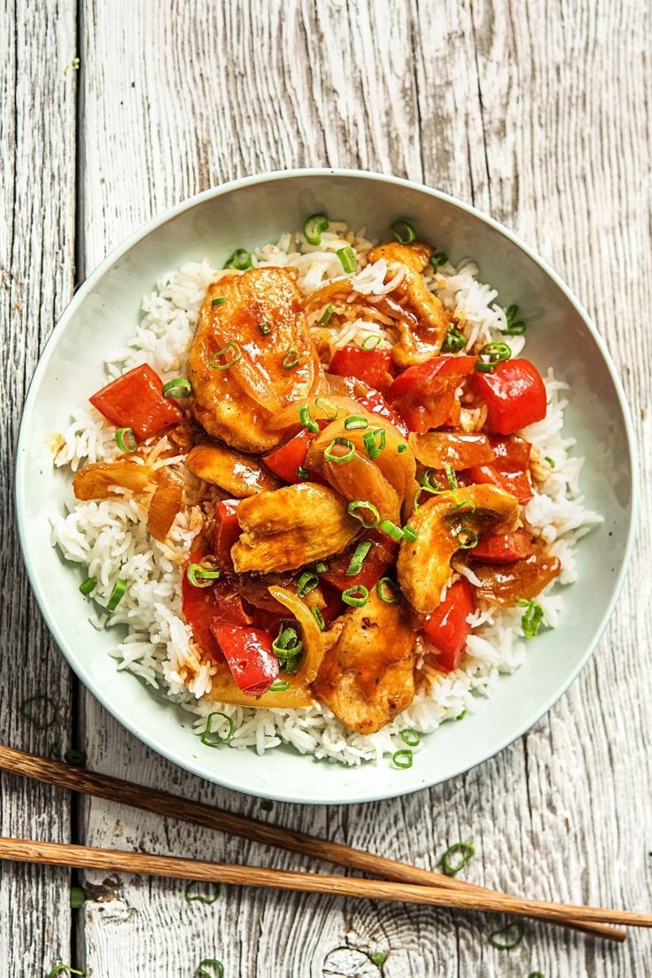 Photo of Chicken pan sweet and sour with red bell pepper, roasted sesame and jasmine rice