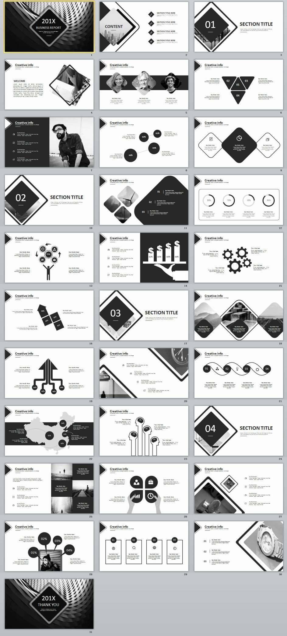31  gray creative timeline powerpoint template