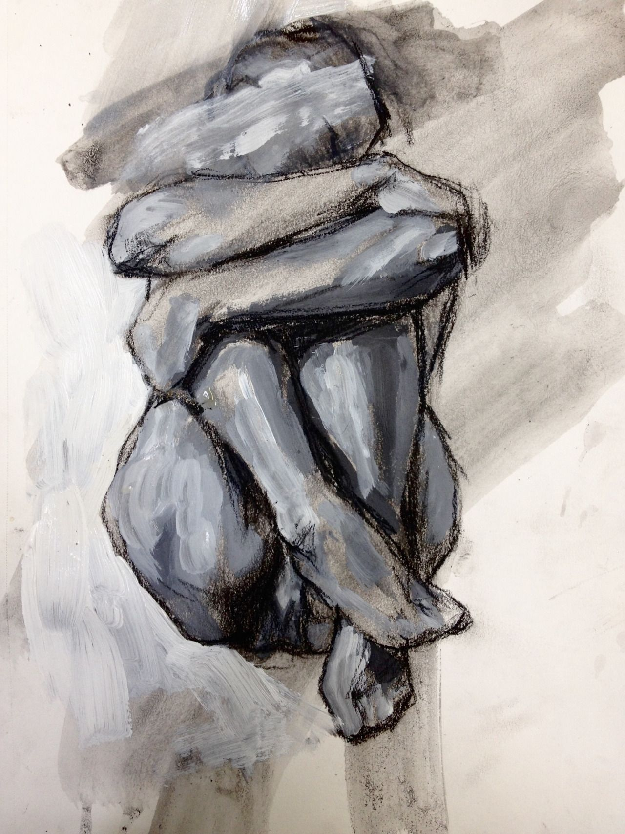 charcoal and acrylic self portrait    elly smallwood