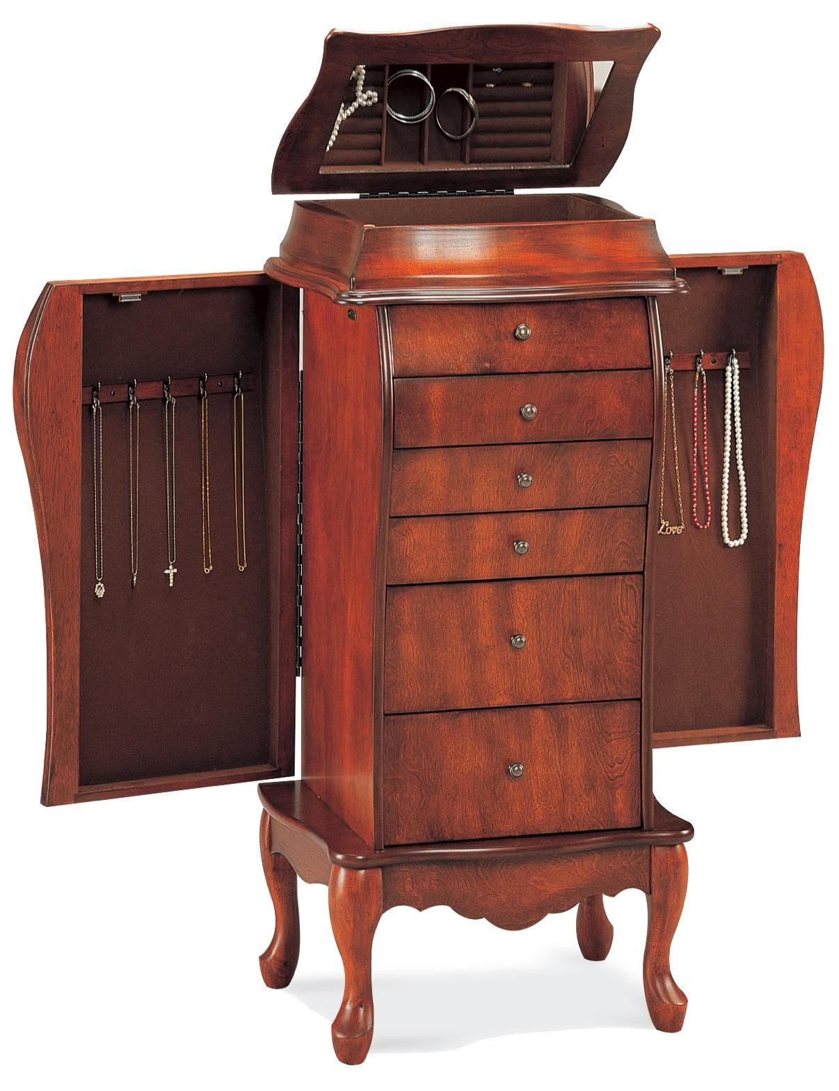 Beautifully Crafted Antique Cherry Jewelry Armoire by Coaster www