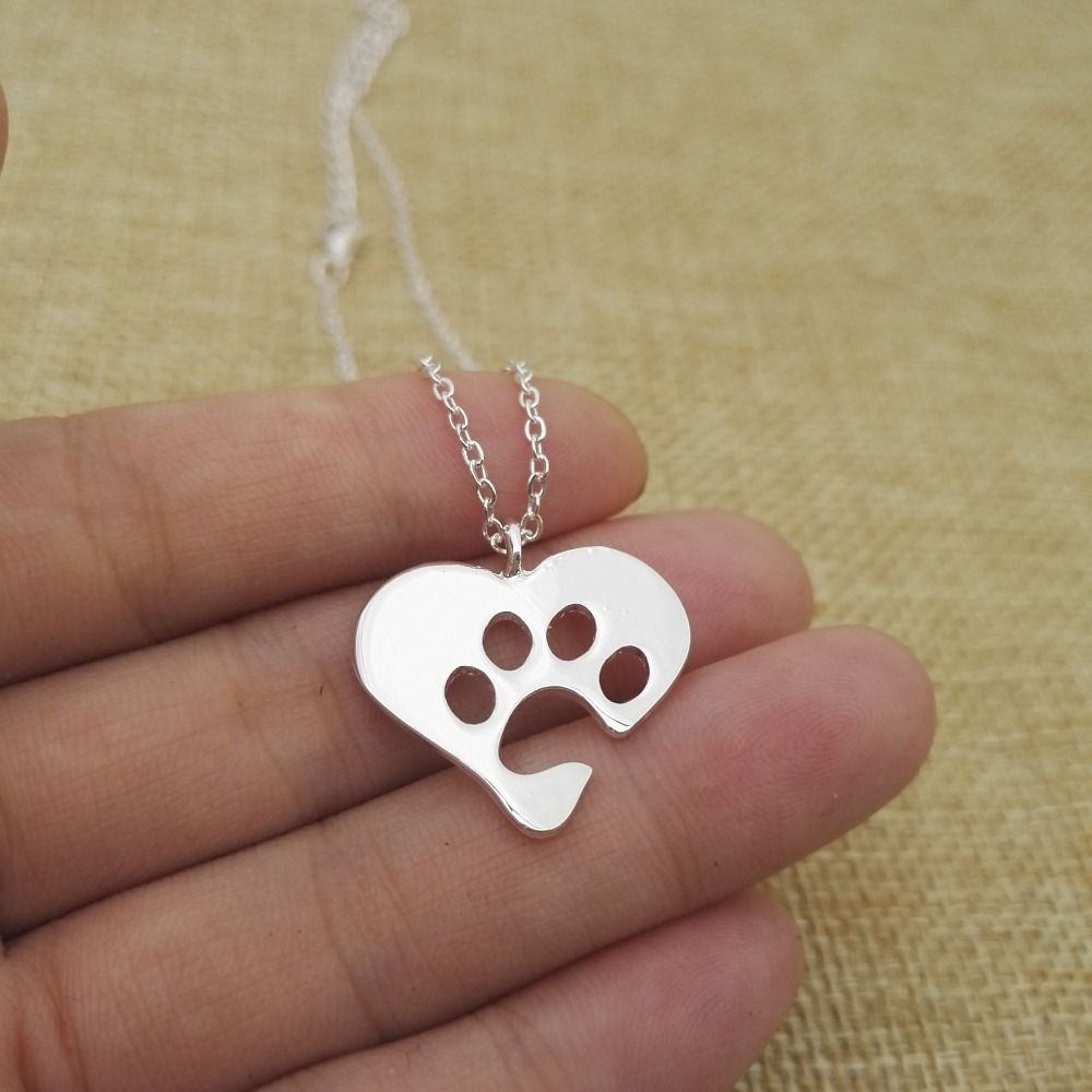 Sweet lovely paw pendant necklace love heart necklace friendship
