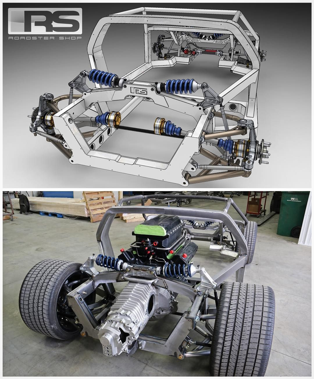 Twin turbo 351 windsor hp mid engine monocoque style perimeter chassis for a de