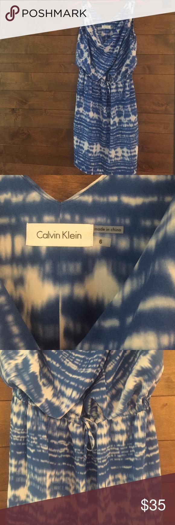 Calvin Klein NWOT chiffon dress Perfect condition, adjustable waist (tie waist) Calvin Klein Dresses