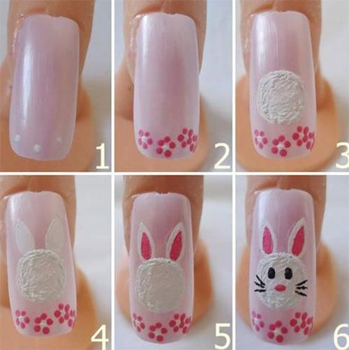 10 Easy Step By Step Easter Nail Art Tutorials For Learners Easter Nail Art Tutorial Bunny Nails Easter Nail Art