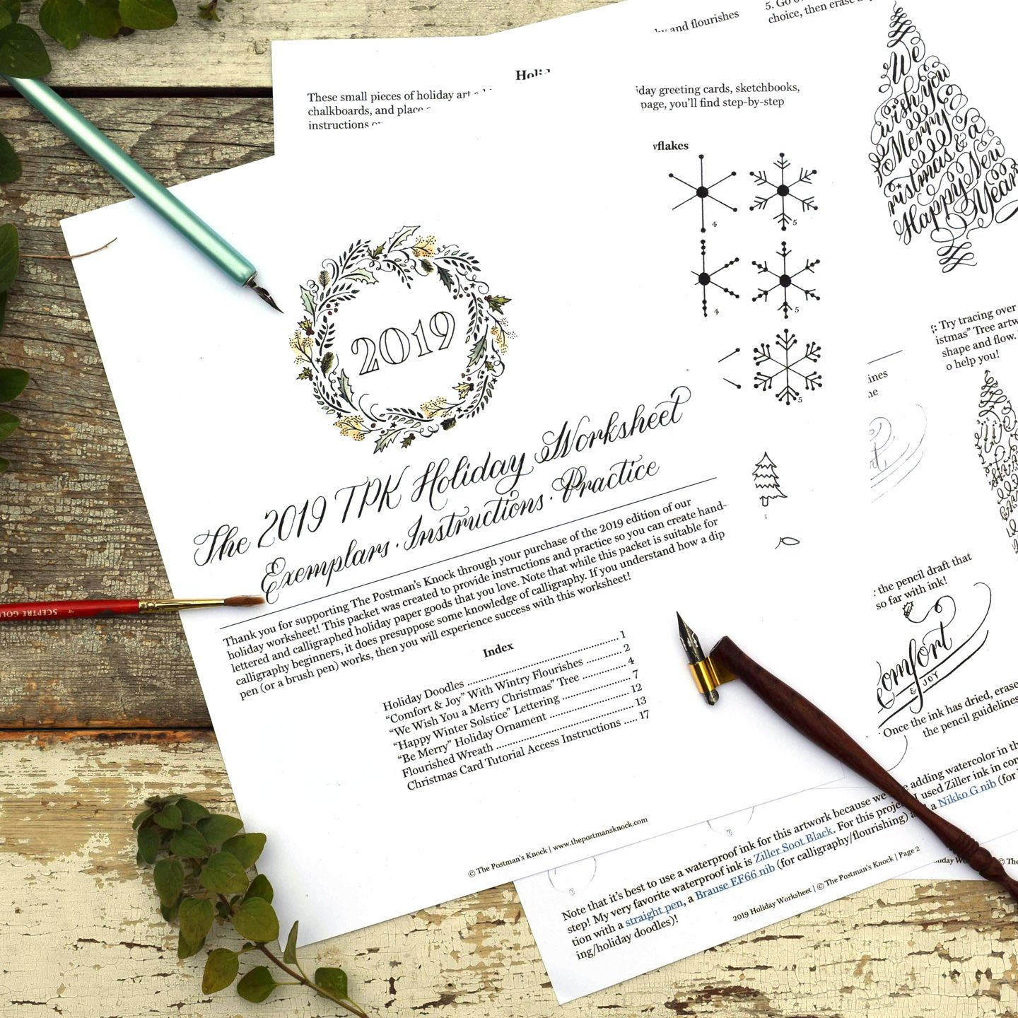 Tpk Holiday Calligraphy Worksheet Edition With