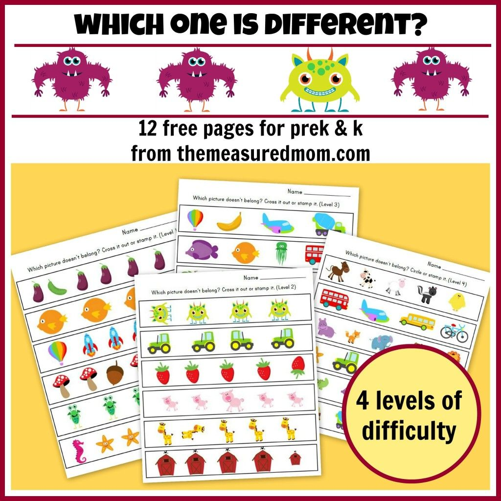 Which One Is Different Worksheets For Preschool And Kindergarten The Measured Mom Visual Discrimination Worksheets Visual Discrimination Activities Preschool Learning [ 1024 x 1024 Pixel ]