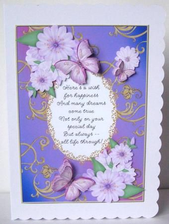 Card Gallery - Butterflies with Gold Flourishes and Poem 8  Card made by Margaret McCartney.