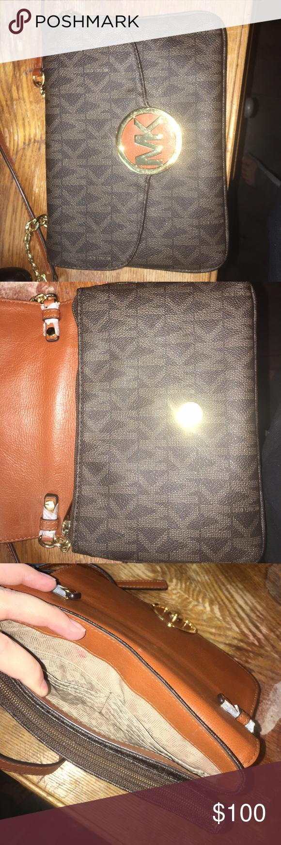 Michael kors cross body bag Like new , one little stain can be removed , comes with matching wallet no tears KORS Michael Kors Bags Crossbody Bags