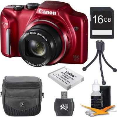 Canon PowerShot SX170 IS 16.0 MP Digital Camera with 16x Optical Zoom and 720p HD Video (Red) Premiere Bundle With DigPro 16GB High Speed Card , Digpro Deluxe Case, Deluxe Cleaning Kit ,Spare Battery