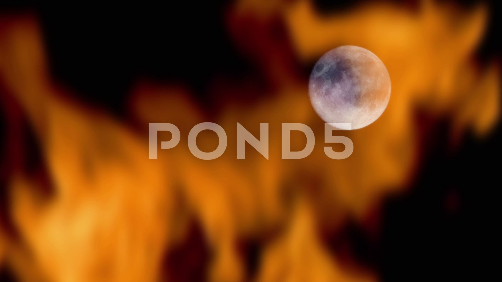 Moon With Fire Burning In Front Of It Stock Footage Ad Burning