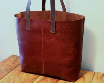 Distressed brown leather tote bag, Leather bucket bag, Vintage ...