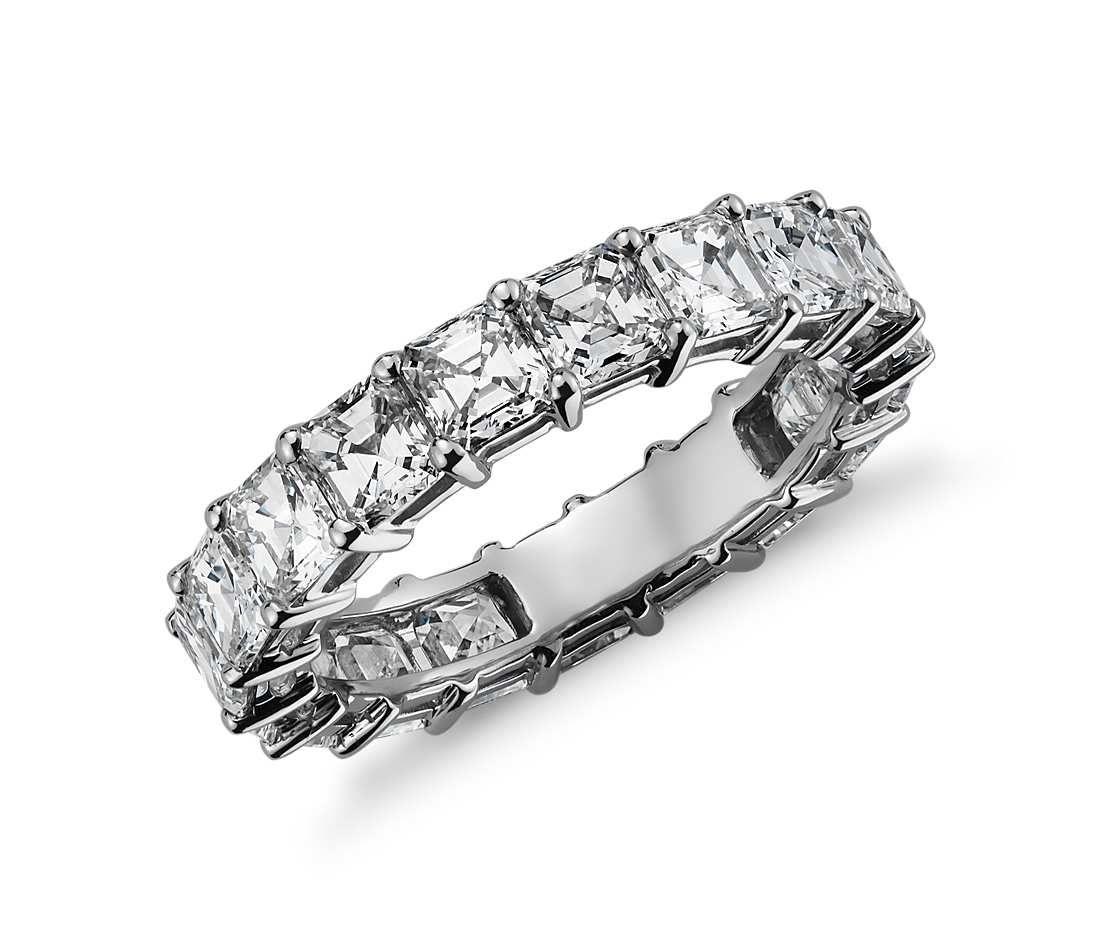Cher Cut Diamond Eternity Ring In Platinum 4 Ct Tw Blue