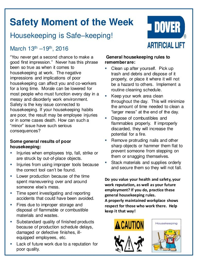 Housekeeping Is Safe Keeping Alberta Oil Tool S Safety Moment Of