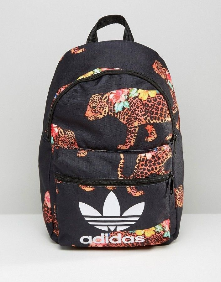 c6b22864b7722 Adidas adidas Originals X Farm Multi Leopard Print Backpack With Trefoil  Logo