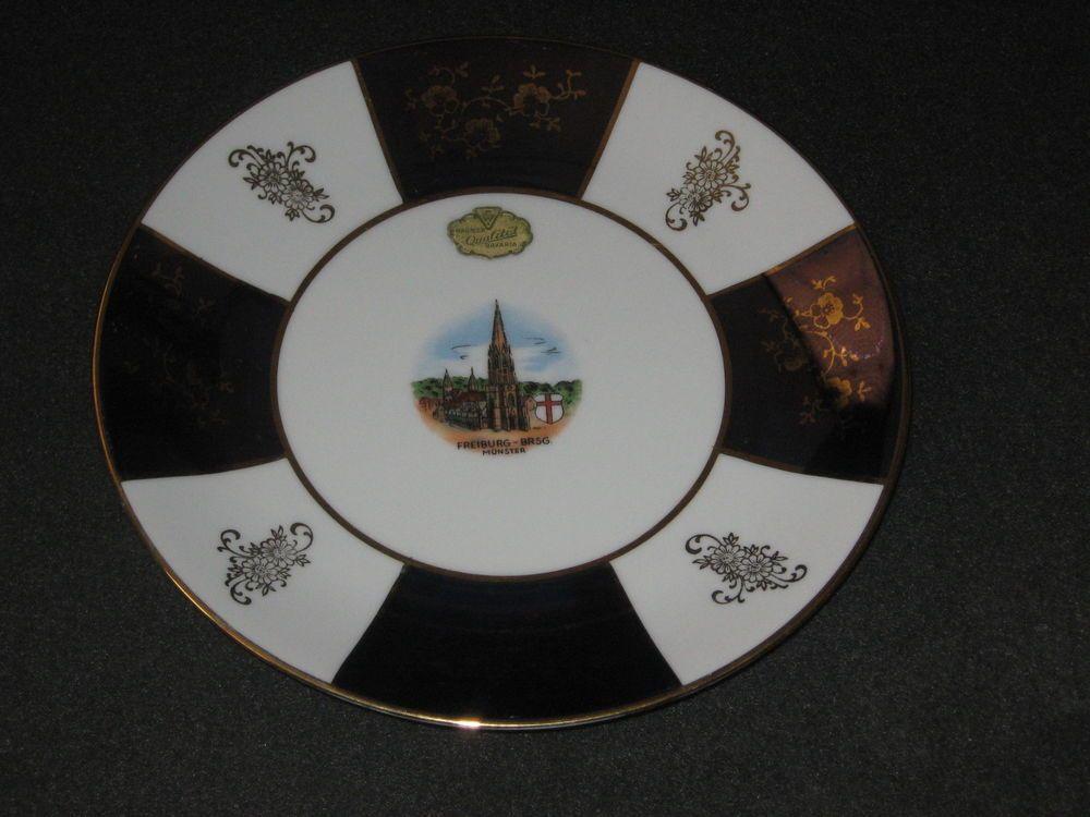 Alboth & Kaiser Bavaria Church Freiburg-Brsg. Monster Purple Gold Plate #DH27