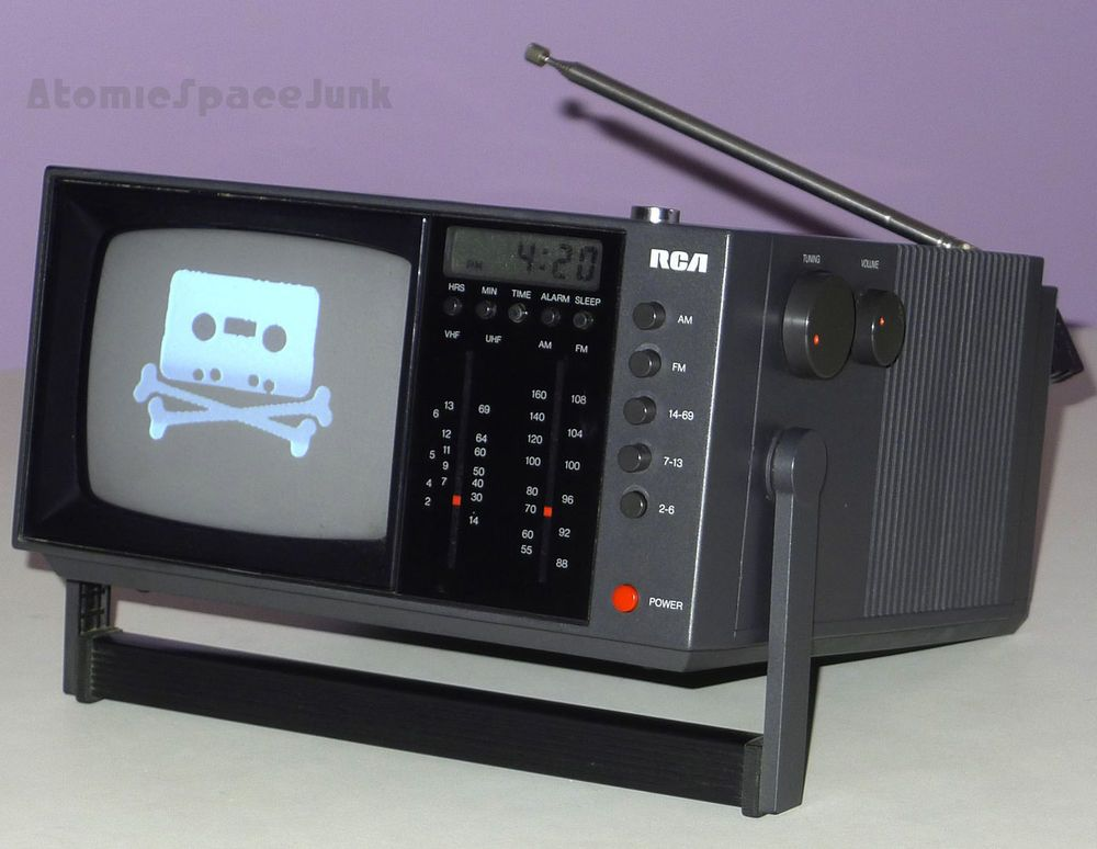 Details about RCA VINTAGE TELEVISION BW TV CLOCK RADIO BWT052E 1980s POSTMODERN SPACE AGE