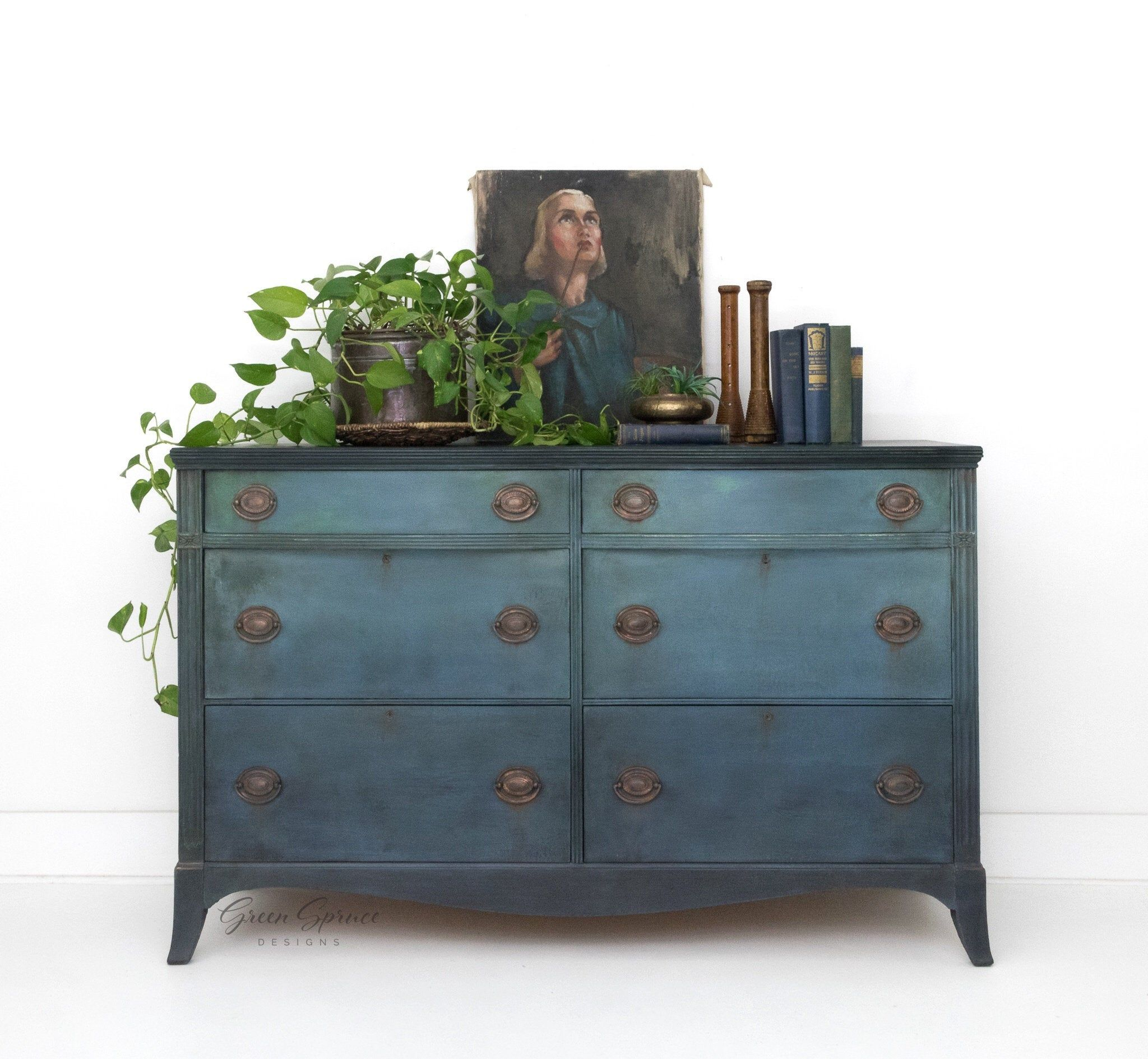 Hand Painted Blue Vintage Six Drawer Dresser Teal Blue Chest Of Drawers Painted Buffet Sideboard Blue Chest Of Drawers Painted Buffet Blue Chests [ 1889 x 2048 Pixel ]