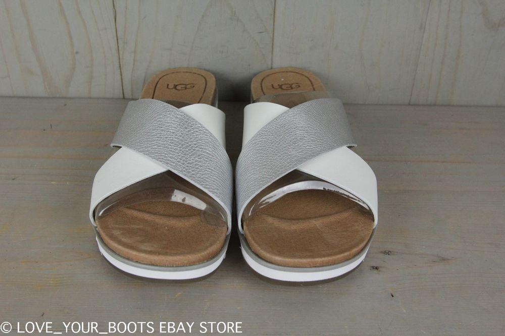 e6c1954e0da UGG Kari SILVER AND White SLIDES Sandals 8.5 *NEW IN BOX ...