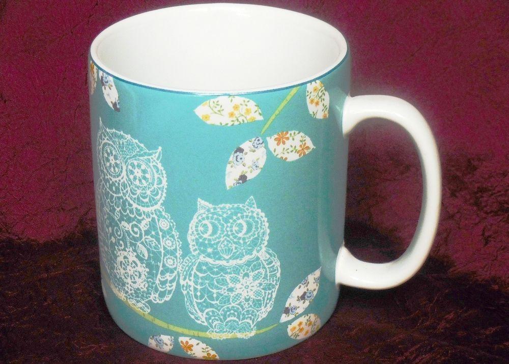 222 Fifth Lacy Owls Turquioise Jumbo Porcelain Mug Cup - Holds 24 Ounces! #222Fifth