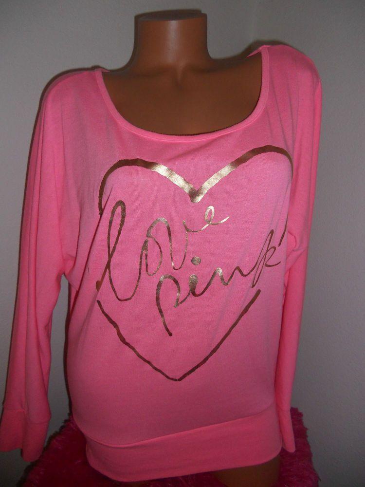 NWOT VICTORIA'S SECRET PINK 'LOVE PINK' OVERSIZED LONG SLEEVE TOP S #VictoriasSecret #KnitTop