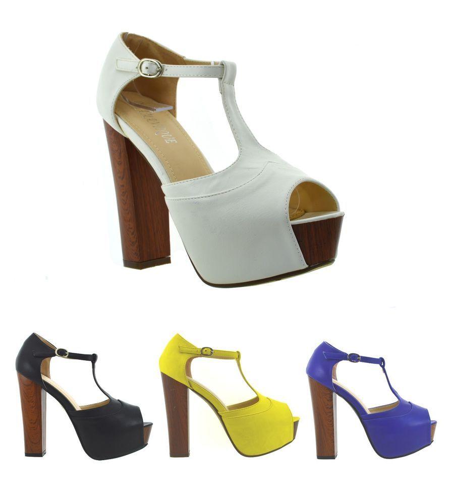 Sandali spuntati donna scarpe aperte estive tacco alto e plateau effetto  legno 8a98c25f2f9