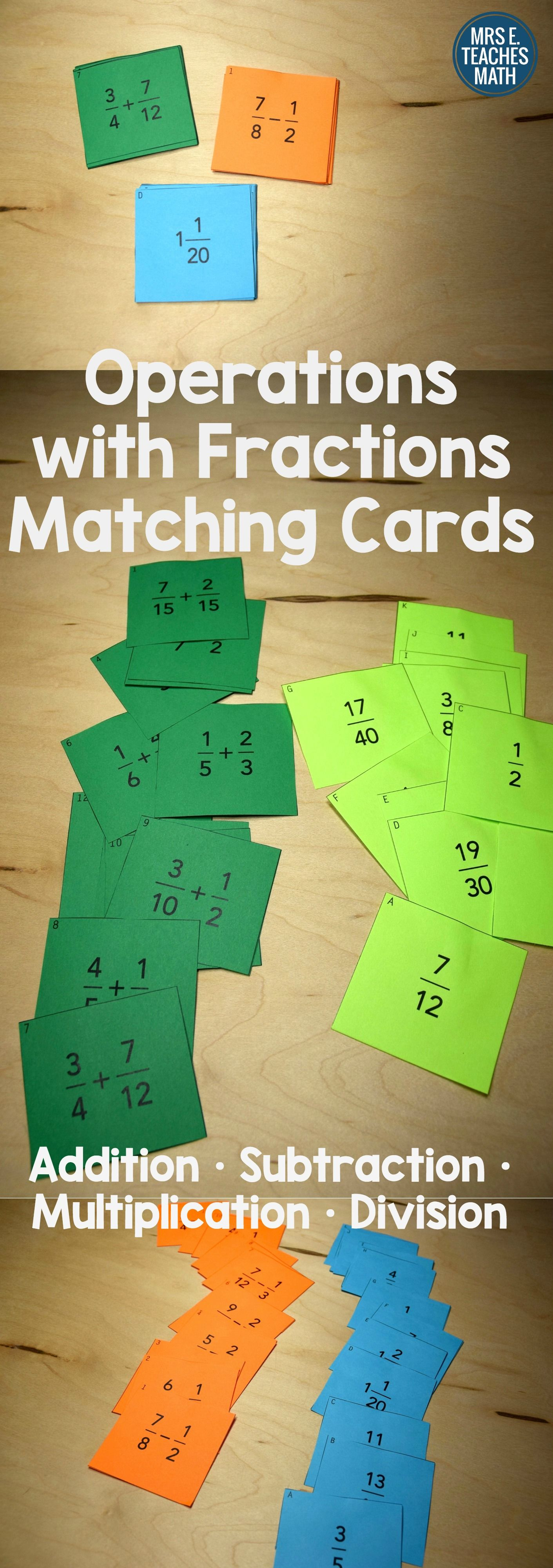 Fractions Card Sort