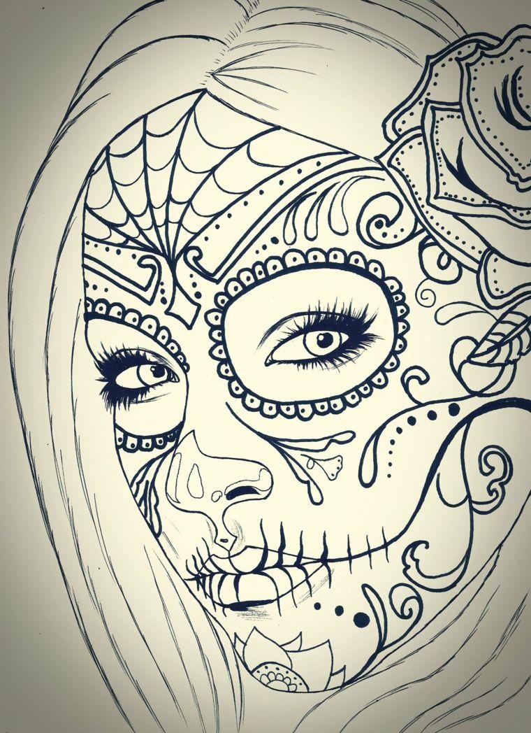 teschio messicano tattoo un disegno in bianco e nero della santa muerte santa muerte