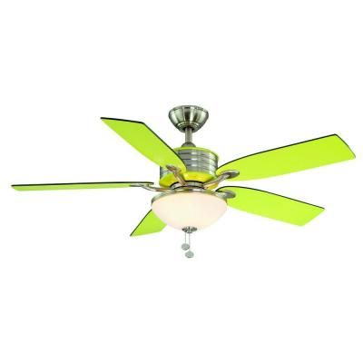 Santa Cruz 52 In Brushed Nickel Ceiling Fan With Green Accents I Am Having A Very Odd Love Affair Lime And Have No Idea Why