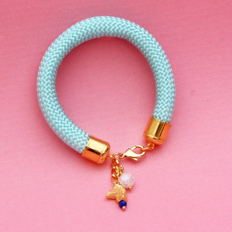 Rope braceletpale blue colour gold amazing african print