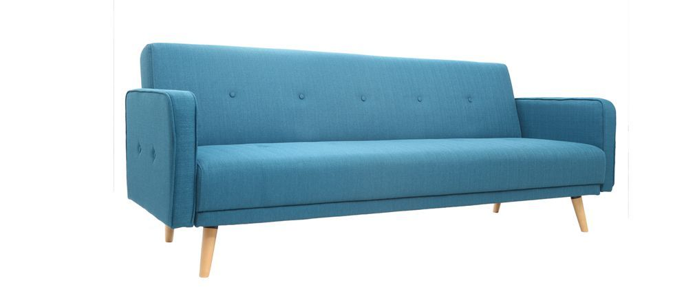 Canapé convertible 3 places design scandinave bleu ULLA
