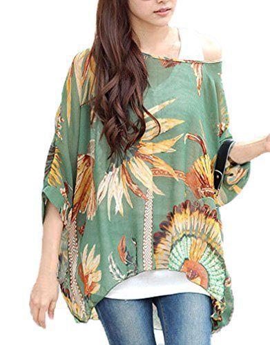 9a72496e097 Andyshi Women s Plus Size Bohemian Style Batwing Sleeve Beach Loose Chiffon  Blouse Shirt (Mint)