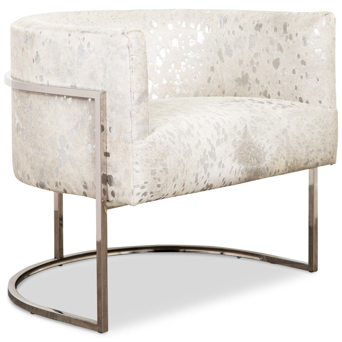 Lisbon Chair In Silver Speckled Cowhide Furniture