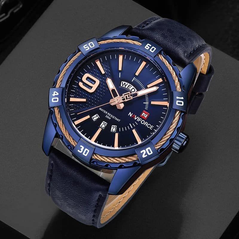 نافي فورس ساعة رسمية رجال انالوج بعقارب جلد Nf9117l Be Blue And Gold Watch Leather Blue Gold