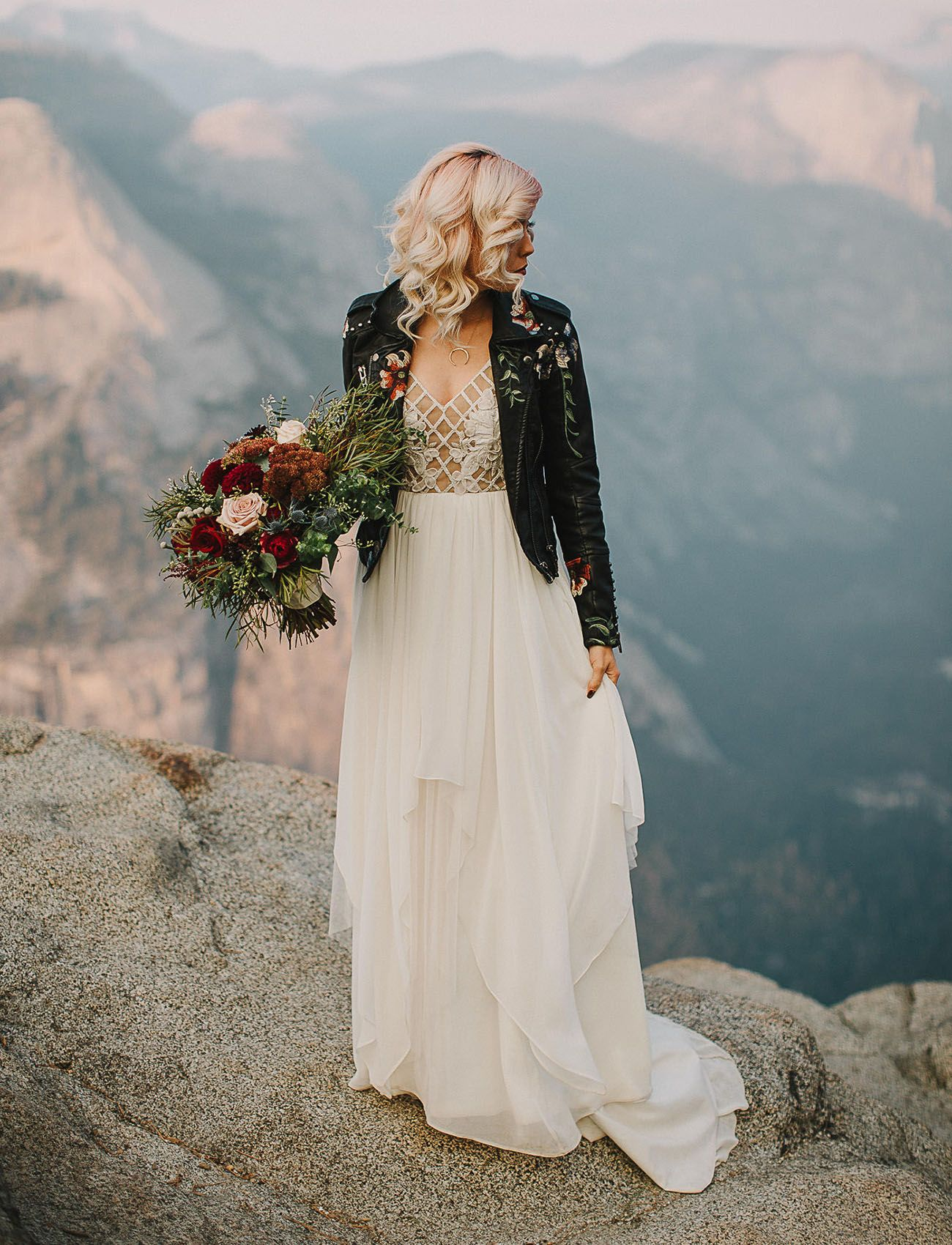 Dress with jacket for wedding  Elegant  Edgy Elopement in Yosemite National Park  Leather jackets