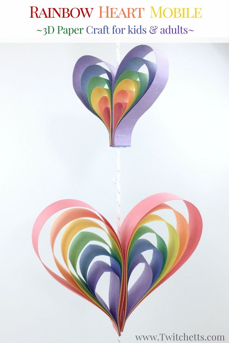 Spinning rainbow heart mobile construction paper crafts for Arts and crafts for 9 12 year olds