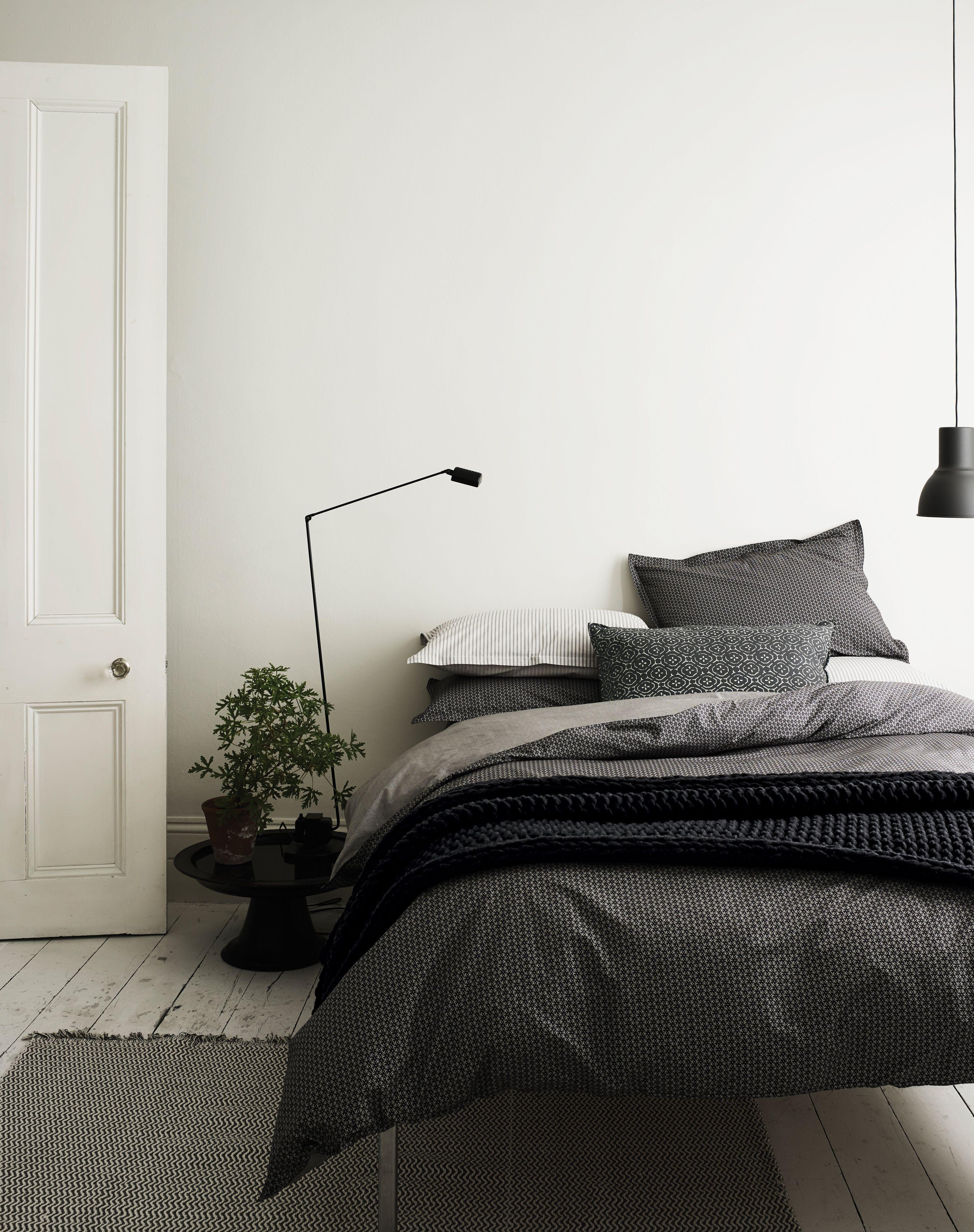 bedroom decor | grey bedding | simple Scandinavian bedroom | modern ...