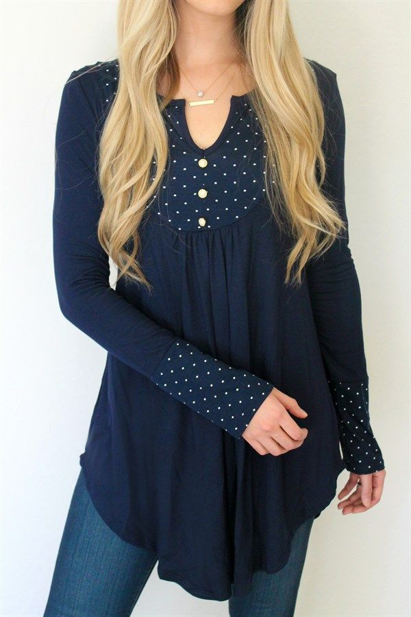 Polka Dot Peasant Tunic High Quality Ropa Blusas Y