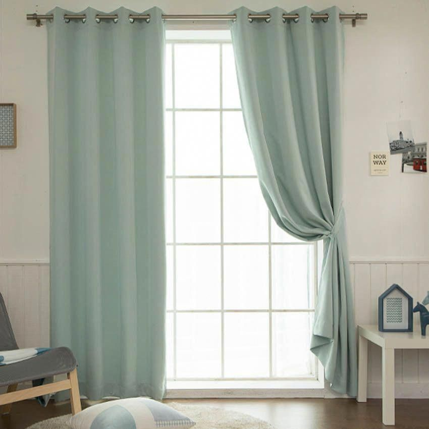 Mint Solid Blackout Curtains Eyelet Grommet Nursery Curtains 102 W X 92 H Pair Handmade Modern R Nursery Curtains Cool Curtains Bedroom Curtains With Blinds