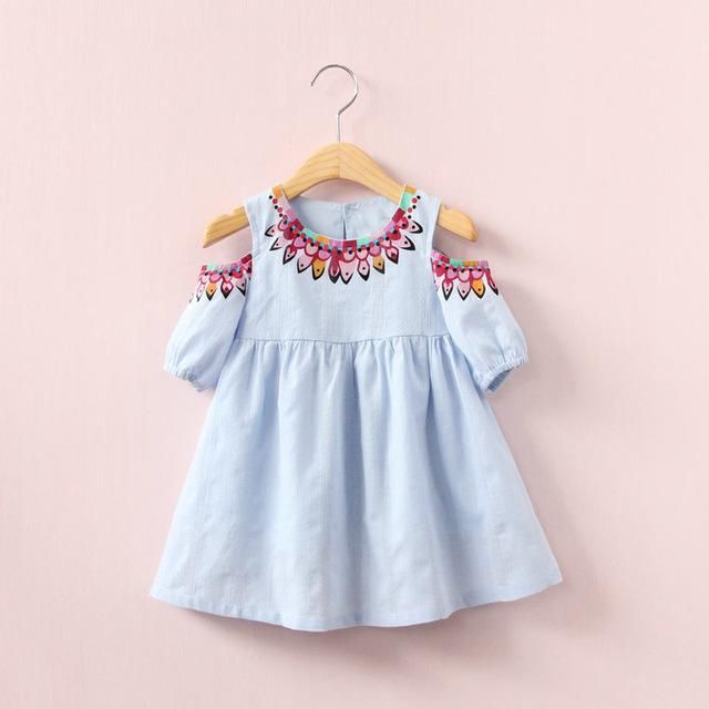 395874d31a89 Off Shoulder Design Baby Girl Summer Dress Cute Print Children ...