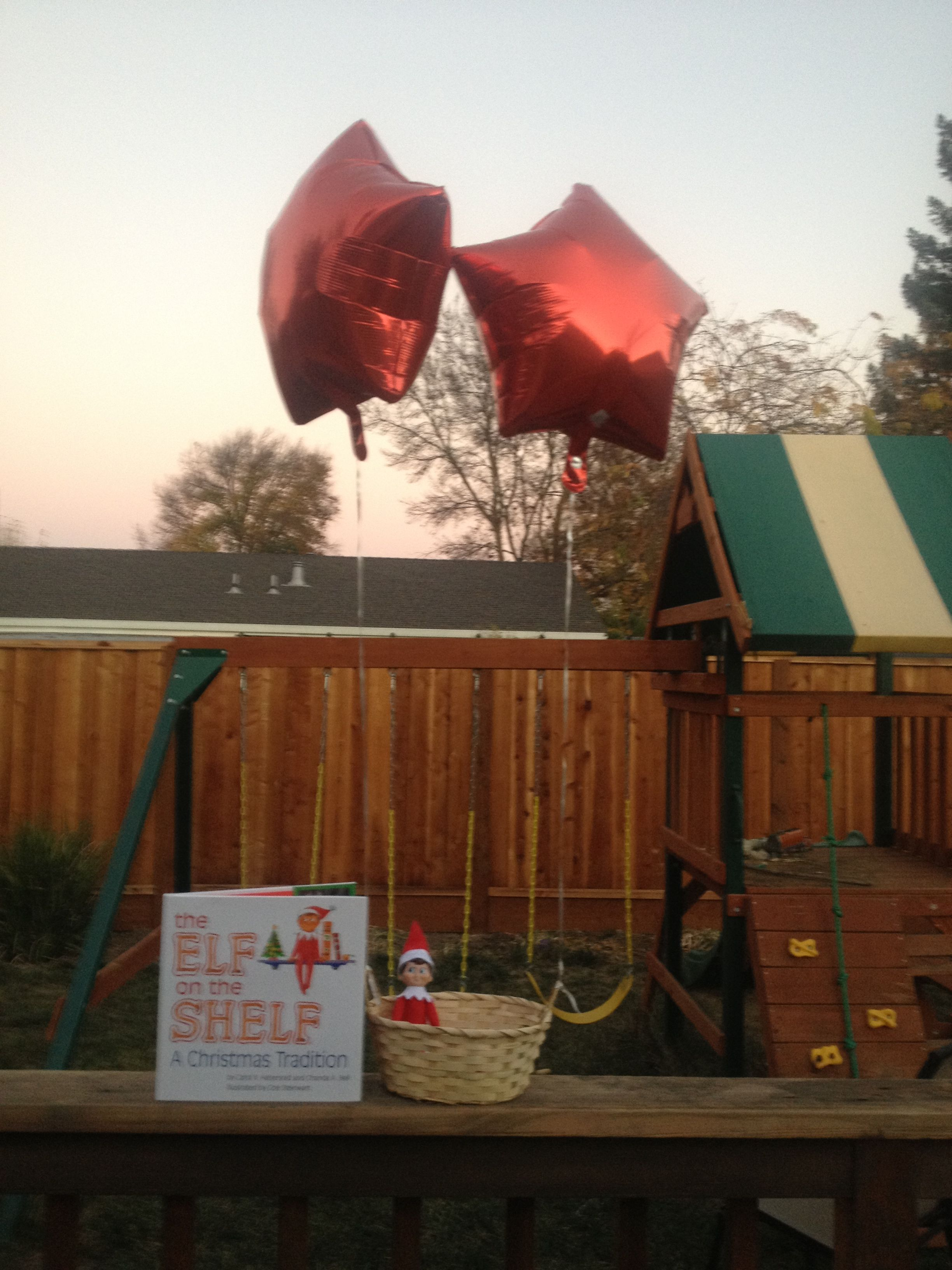 Elf on the shelf arrival by balloon basket / elf introduction to kids / Christmas Xmas fun for kids